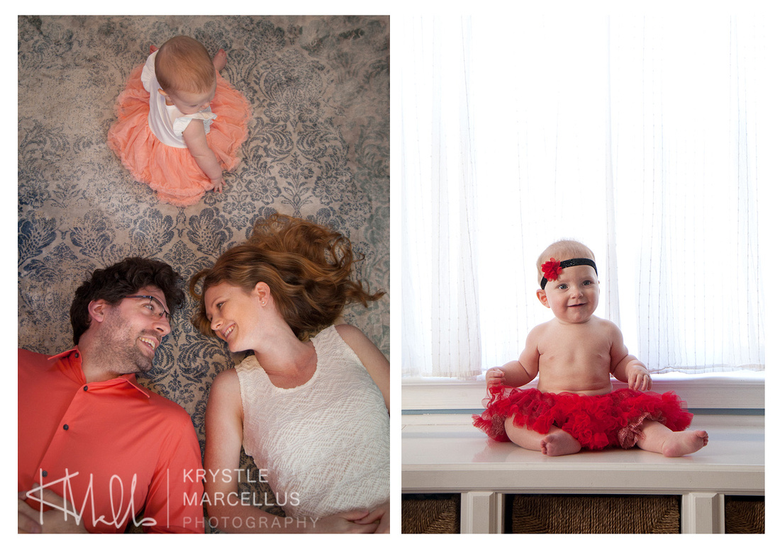 In-home family portrait session with baby portraits