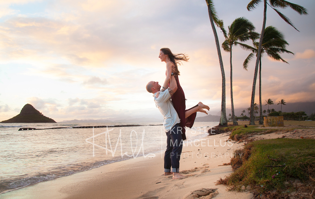 Engagement Portraits Session at Chinaman's Hat Beach Park in Hawaii, Windward Oahu