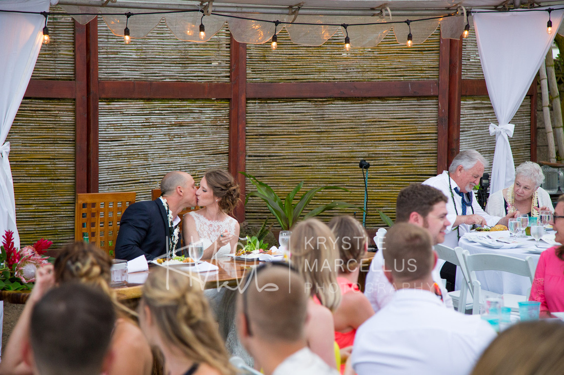 Wedding photos of a Hawaiian beach wedding on the North Shore of Oahu